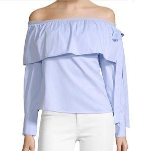 NWT Walter Baker Blue Off Shoulder Ruffle Shirt Lg